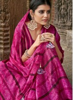 Faux Chiffon Printed Pink Classic Saree
