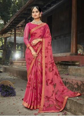 Pink Faux Chiffon Printed Saree