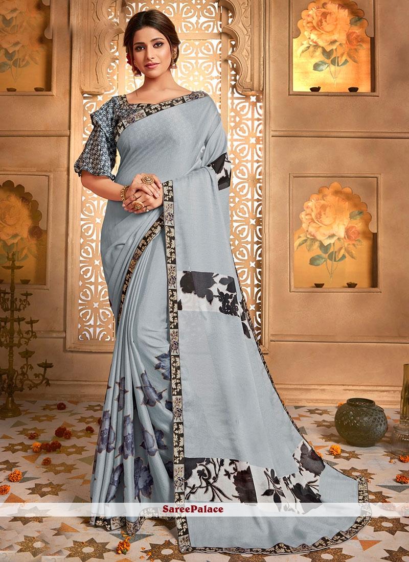 Faux Chiffon Printed Saree in Grey