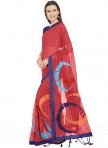 Faux Chiffon Printed Saree in Maroon