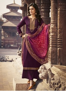 Faux Chiffon Purple Embroidered Designer Palazzo Suit
