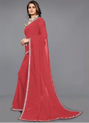 Faux Chiffon Red Border Classic Saree