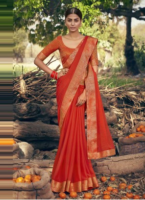 Faux Chiffon Red Classic Designer Saree