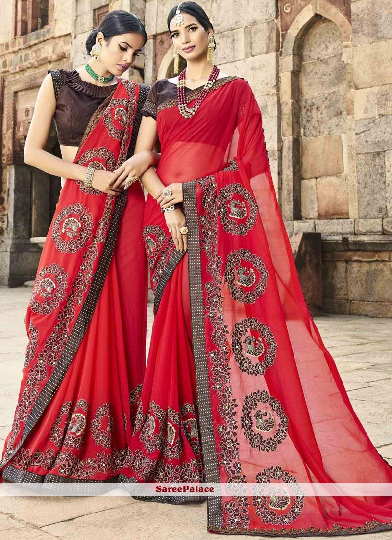 Faux Chiffon Red Thread Work Classic Saree