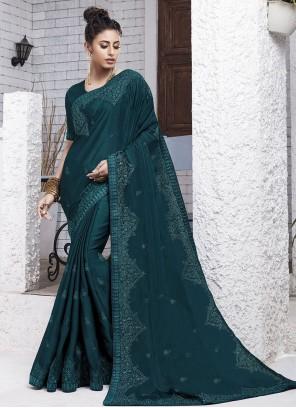 Faux Chiffon Resham Blue Designer Saree