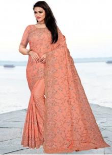 Faux Chiffon Peach Resham Classic Designer Saree