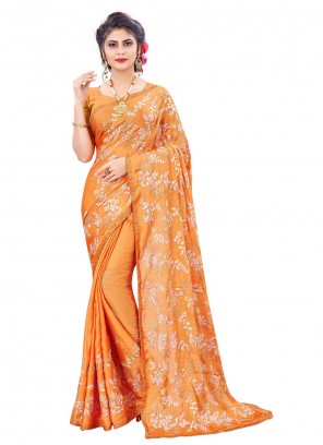 Faux Chiffon Resham Classic Designer Saree in Orange