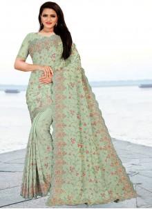 Faux Chiffon Resham Classic Designer Saree in Sea Green