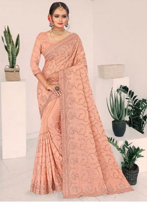Faux Chiffon Resham Peach Designer Saree