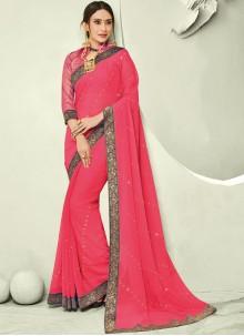 Faux Chiffon Rose Pink Trendy Saree