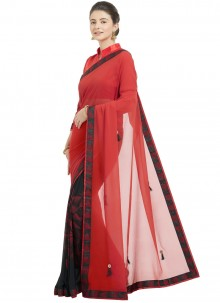 Faux Chiffon Shaded Saree in Red
