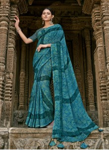 Faux Chiffon Teal Printed Casual Saree