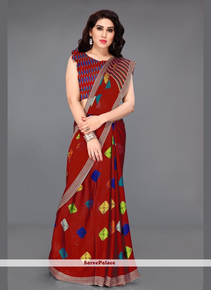 Faux Chiffon Traditional Saree in Multi Colour