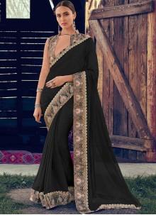Faux Chiffon Trendy Saree in Black