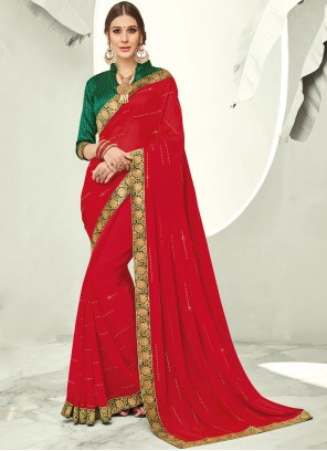 Faux Chiffon Trendy Saree in Red