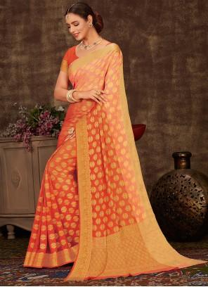 Faux Chiffon Weaving Orange Shaded Saree
