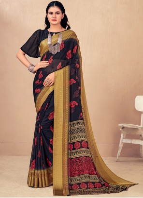Faux Chiffon Woven Classic Saree in Navy Blue