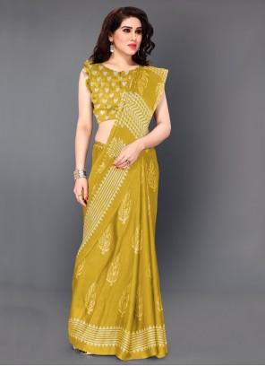 Faux Chiffon Yellow Bollywood Saree
