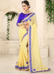 Faux Chiffon Yellow Patch Border Saree