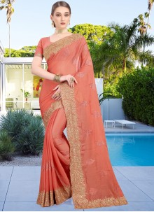Faux Chiffon Zari Traditional Saree in Peach