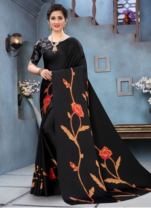 Faux Crepe Abstract Print Black Saree