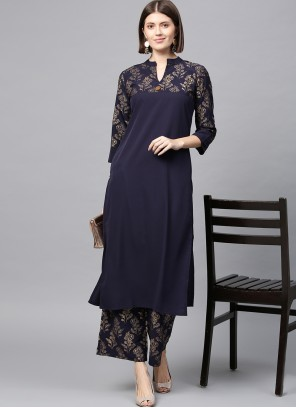 Faux Crepe Abstract Print Casual Kurti in Navy Blue