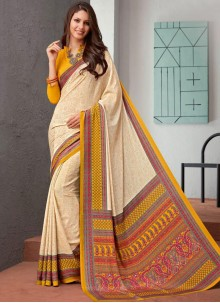 Faux Crepe Abstract Print Cream Saree
