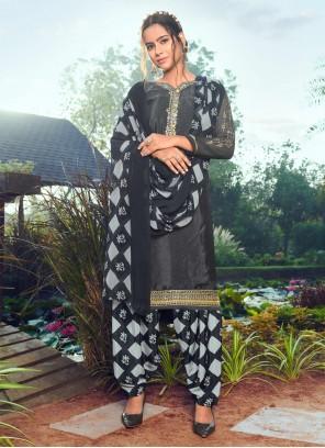 Faux Crepe Black Designer Salwar Kameez