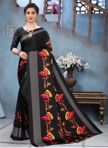 Faux Crepe Black Printed Saree