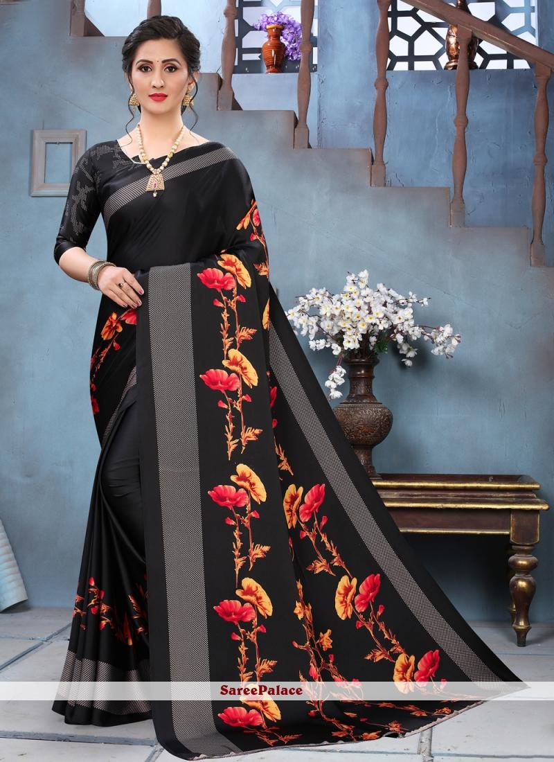 Faux Crepe Black Printed Saree
