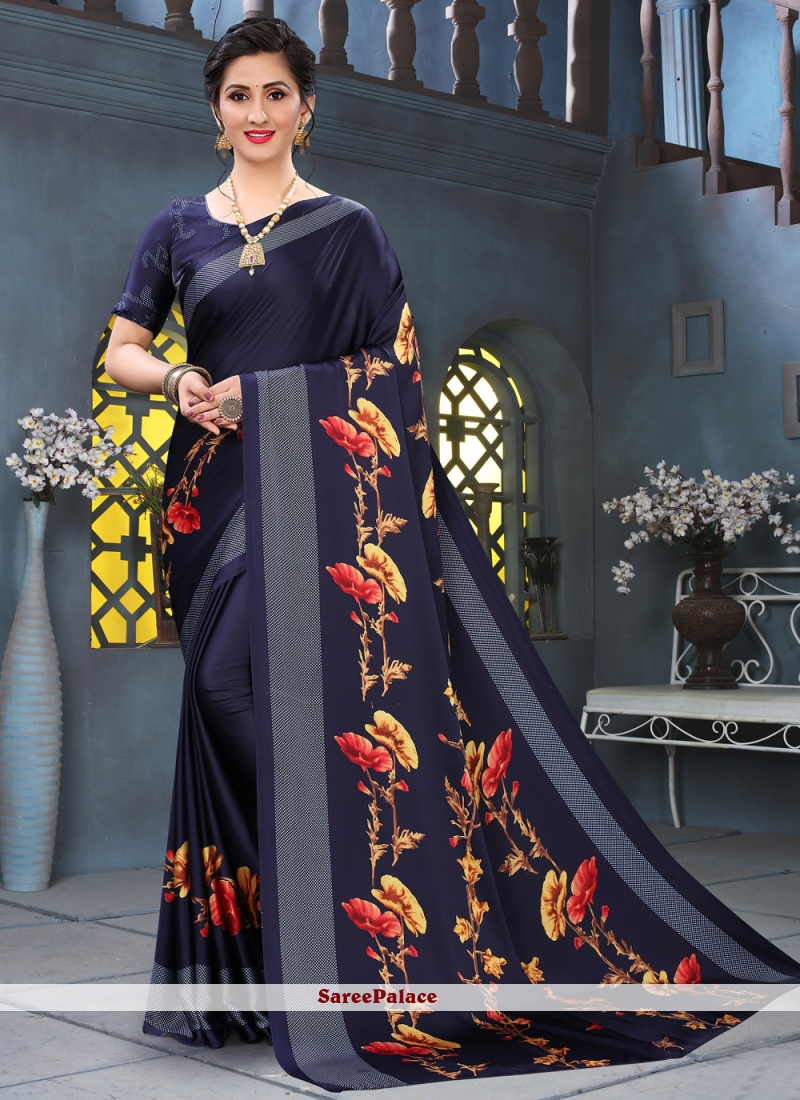 Faux Crepe Blue Abstract Printed Saree