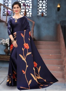 Blue Faux Crepe Casual Printed Saree