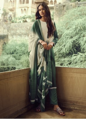 Cream and Green Faux Crepe Casual Salwar Suit
