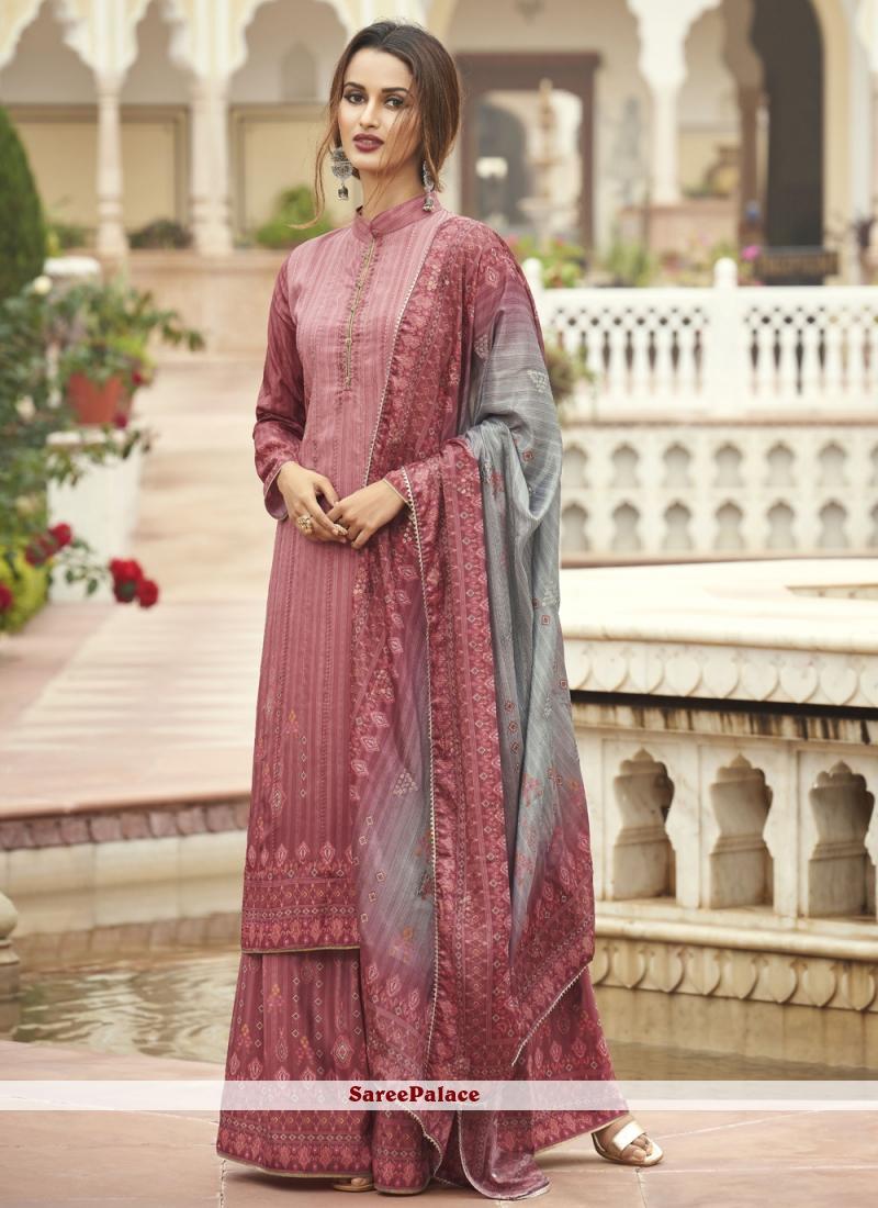 Pink Faux Crepe Ceremonial Designer Palazzo Suit