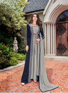 Faux Crepe Designer Salwar Kameez in Blue and Grey