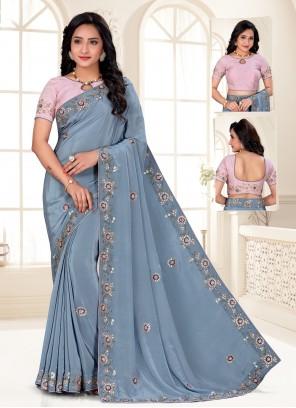 Faux Crepe Embroidered Blue Designer Saree
