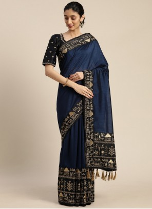 Faux Crepe Embroidered Classic Navy Blue Designer Saree