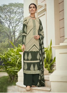 Faux Crepe Embroidered Designer Palazzo Suit
