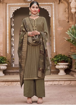 Faux Crepe Embroidered Green Trendy Suit