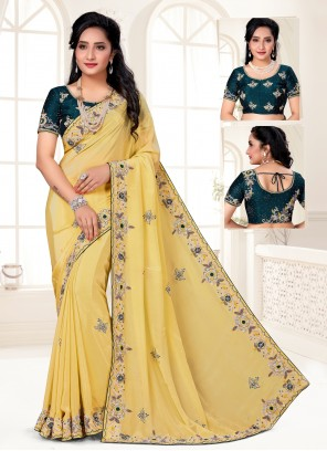 Faux Crepe Embroidered Yellow Designer Saree