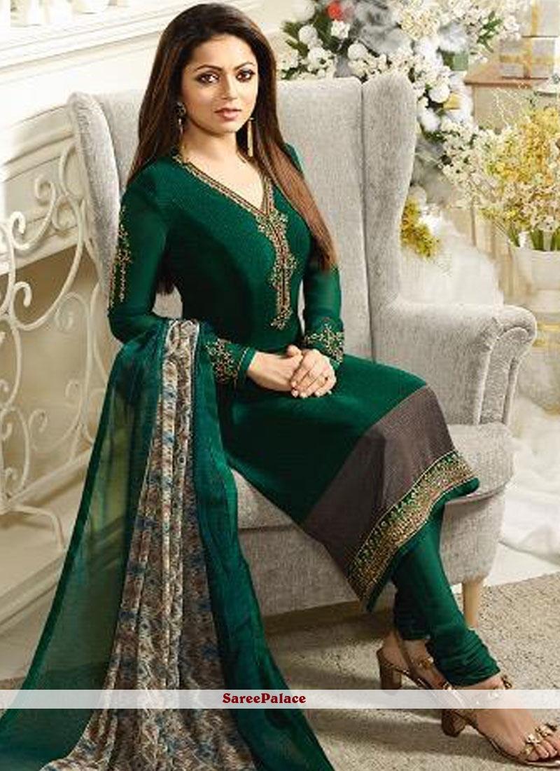 Faux Crepe Green Churidar Salwar Suit