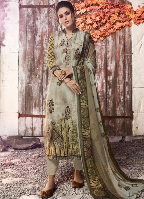 Faux Crepe Green Designer Pakistani Suit