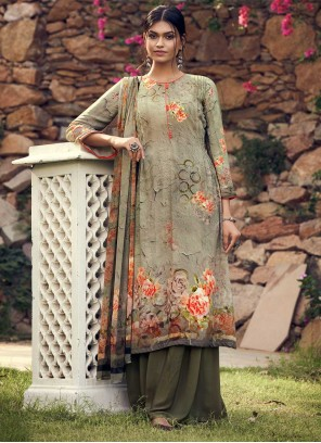 Faux Crepe Green Palazzo Suit