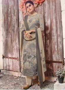 Faux Crepe Multi Colour Abstract Print Designer Pakistani Suit