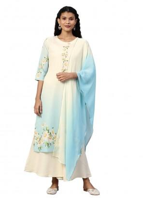 Faux Crepe Multi Colour Bollywood Salwar Kameez