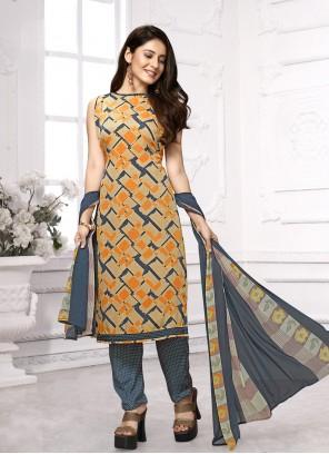Faux Crepe Multi Colour Print Designer Salwar Suit