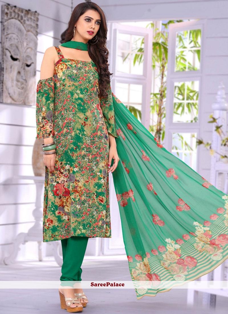 Faux Crepe Multi Colour Print Work Salwar Suit