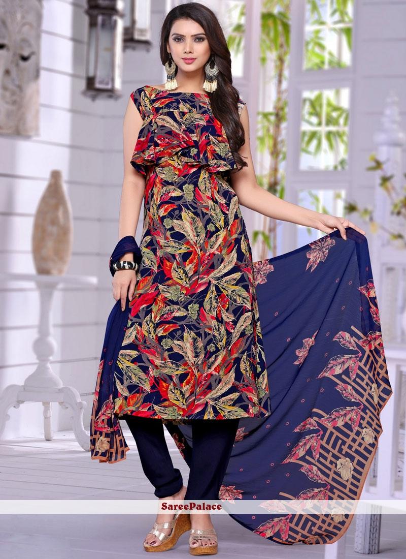 Faux Crepe Multi Colour Salwar Suit