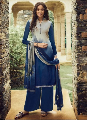 Faux Crepe Pakistani Salwar Suit in Blue and Cream