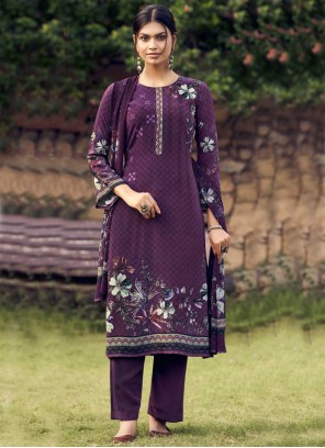 Faux Crepe Palazzo Suit in Purple
